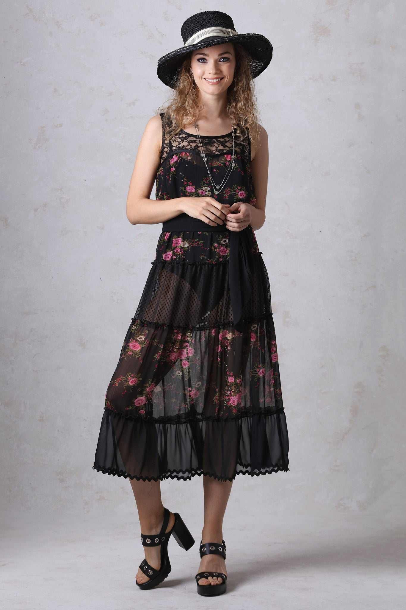 Black and Rose Print Chiffon Tiered Dress
