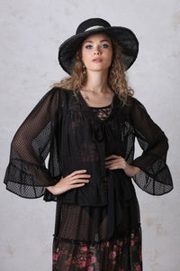 Black Dot Chiffon Tie Jacket