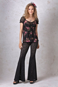 Stretch Lace Bell Bottom Pant