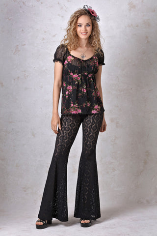 Black and  Rose Print Chiffon Peasant Top