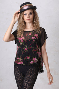 Black and Rose Print  Chiffon Swing Top