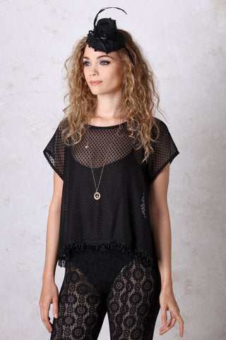 Black Dot Chiffon Swing Top