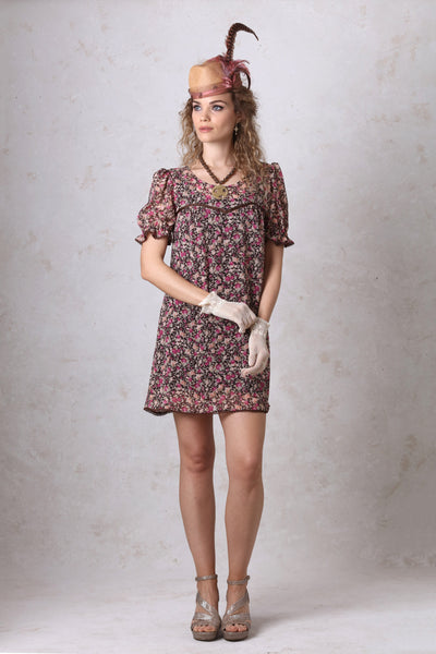 Brown Floral Baby Doll Dress
