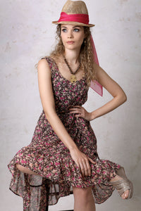Brown Floral Belted Tank Dress