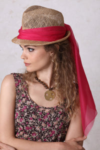 Fedora with Hot Pink Sash