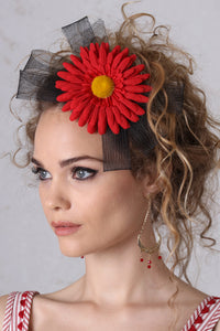Red Gerbera Fascinator