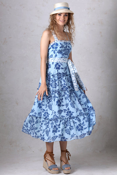 Blue Print Tiered Halter Dress