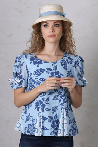 Blue on Blue Puffed Sleeve Top