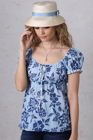 Blue on Blue Peasant Top