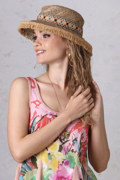 Sisal Boater with Fringe Brim