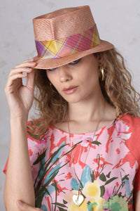 Fedora with Pink Plaid Band