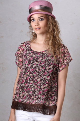 Brown Floral Swing Top
