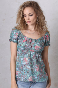 Blue Paisley Peasant Top