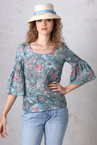 Blue Paisley Bell Sleeve Top