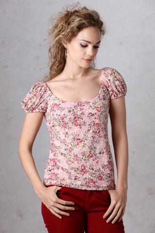 Pink Floral Stretch Lace Top