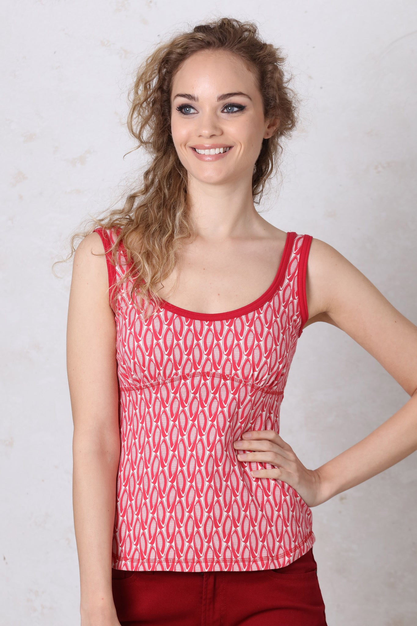 Red Print Tank Top