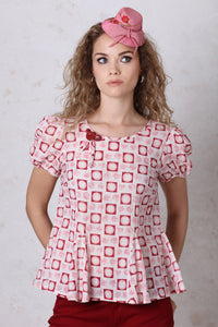 Red Square Print Puffed Sleeve Top
