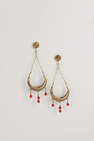 Filigree Moon Brass Earrings