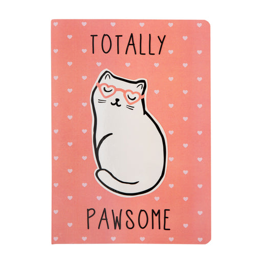 Pink Cutie Cat Totally Pawesome A5 Notebook