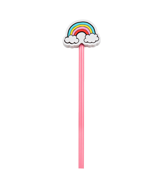 Pink Pencil With Rainbow Eraser Topper