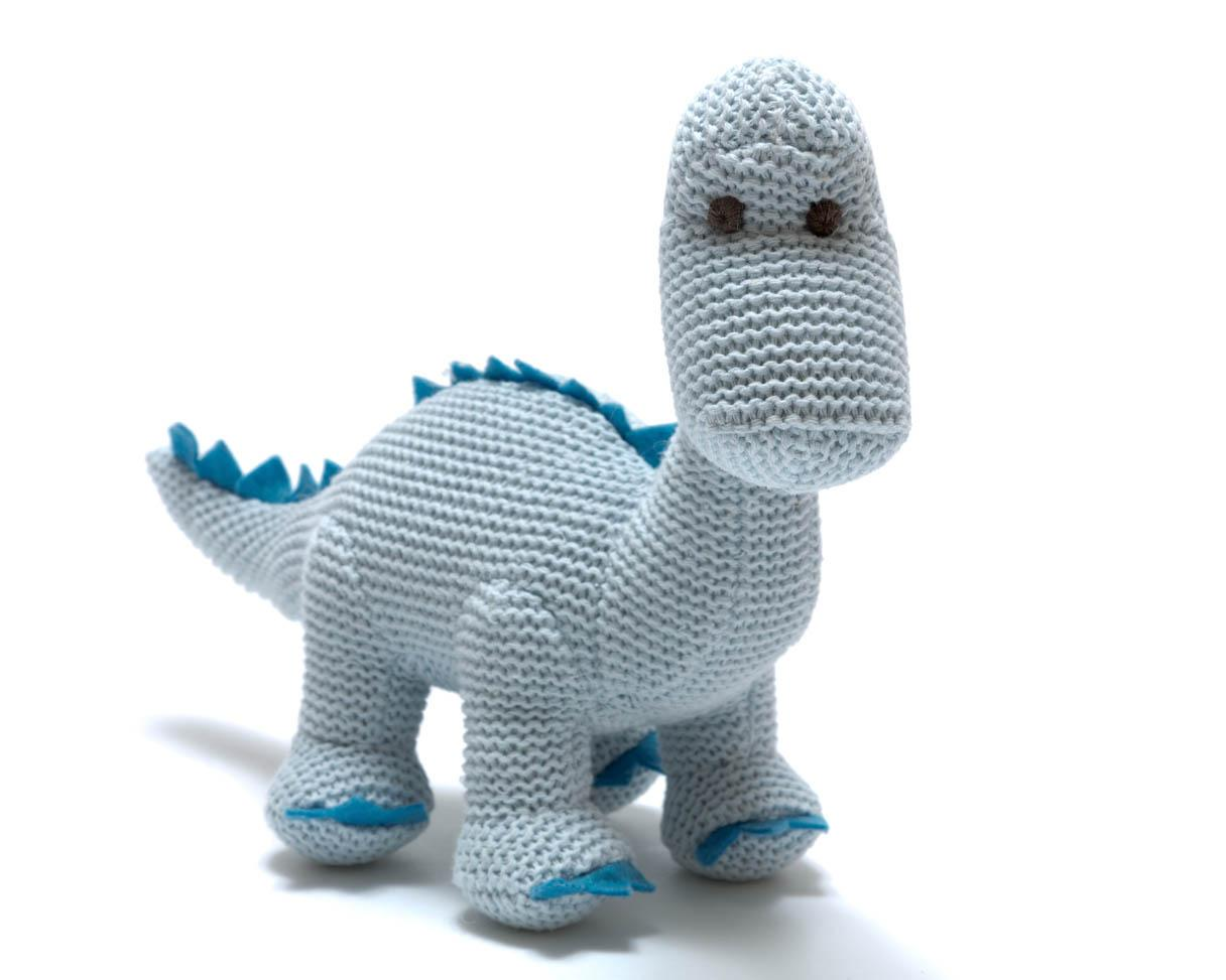 Organic Blue Knitted Diplodocus Dinosaur Rattle