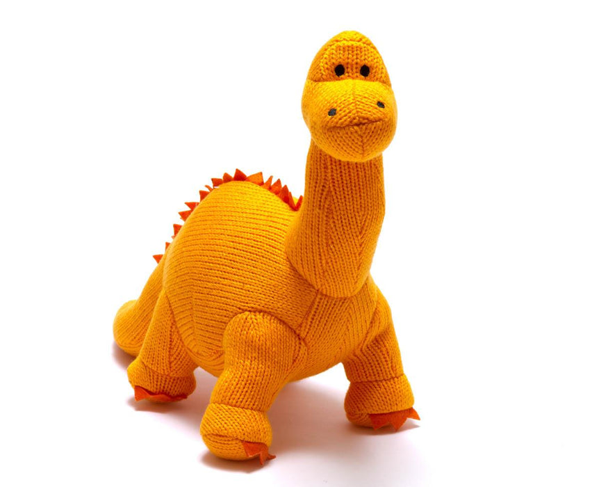 Knitted Orange Diplodocus Dinosaur Soft Toy