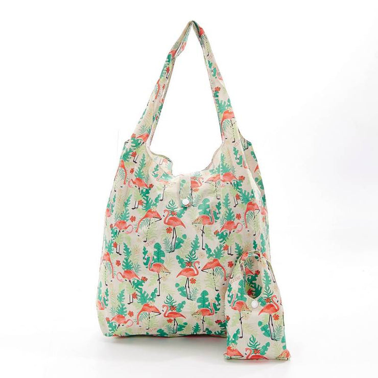 Beige Flamingo Foldable Shopper - Eco Chic
