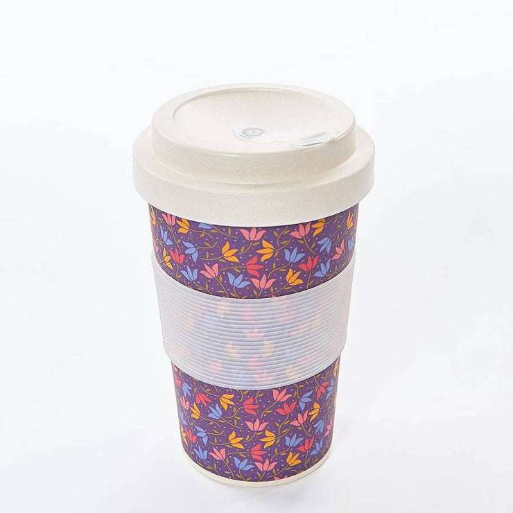 Purple Ditsy Doodle Travel Mug - Eco Chic
