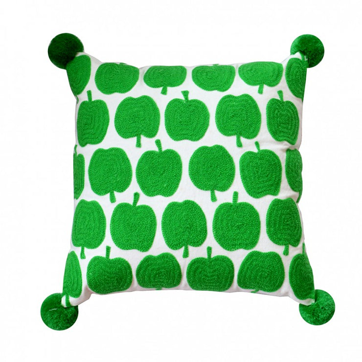Apples Green & White Square Cushion