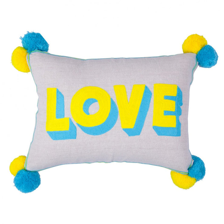 Love Embroidered Yellow & Turquoise Linen Cushion