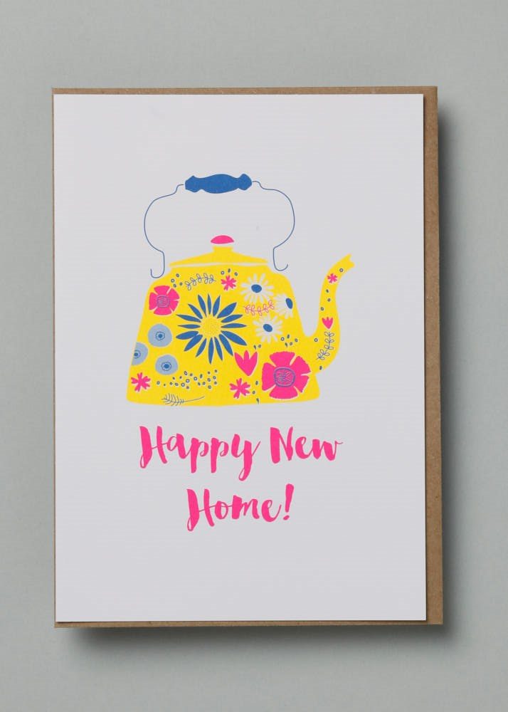 Happy New Home Teapot Greetings Card