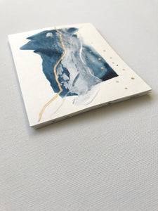 blue, white, silver + gold blank note cards