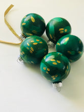 Load image into Gallery viewer, green + gold holiday bauble