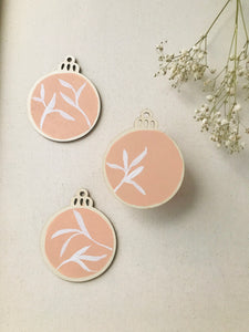 wooden ornaments | blush + white