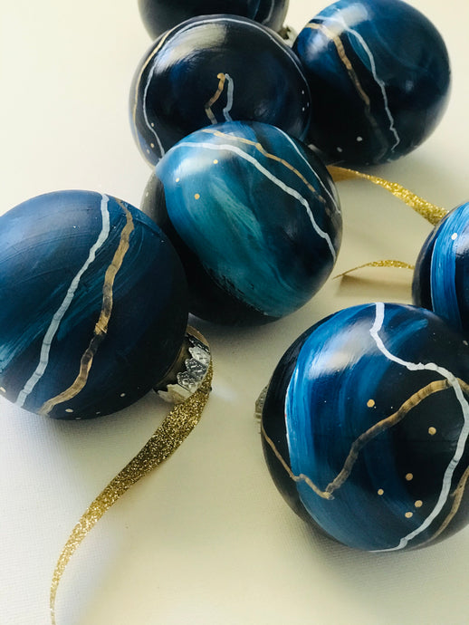 blue + gold holiday bauble