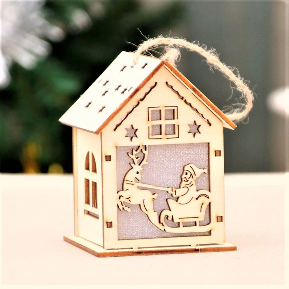 Sled Santa wooden house