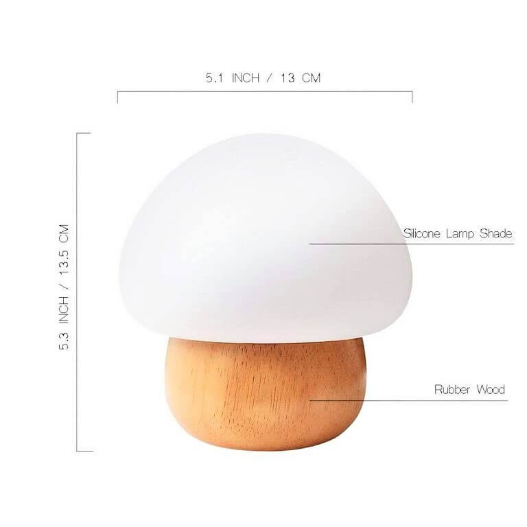 Size of the mushroom wooden lamp
