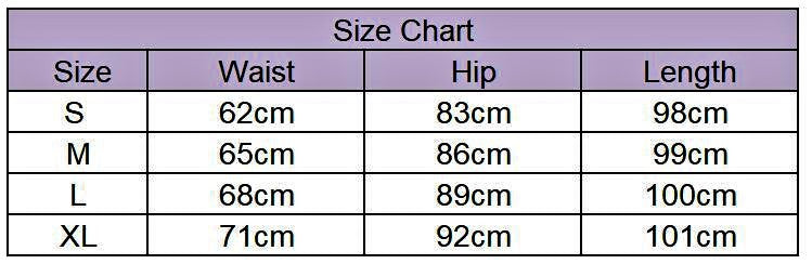 Size chart of legging in centimeters