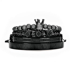 Black bracelet set for men