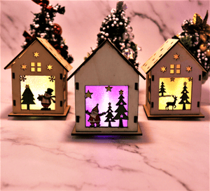 Wooden LED House Christmas Ornament