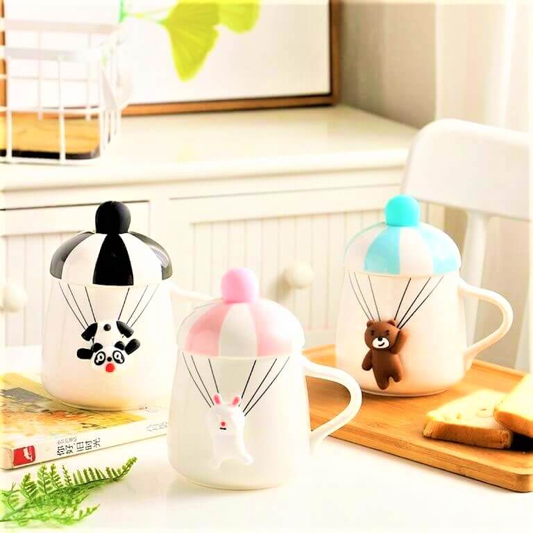 Creative coffee mug with cute animals printed on it
