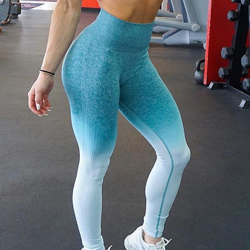 Sky blue gradient legging with high compression waist