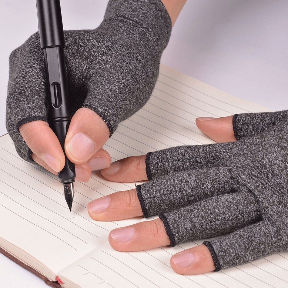 writing with arthritis gloves on