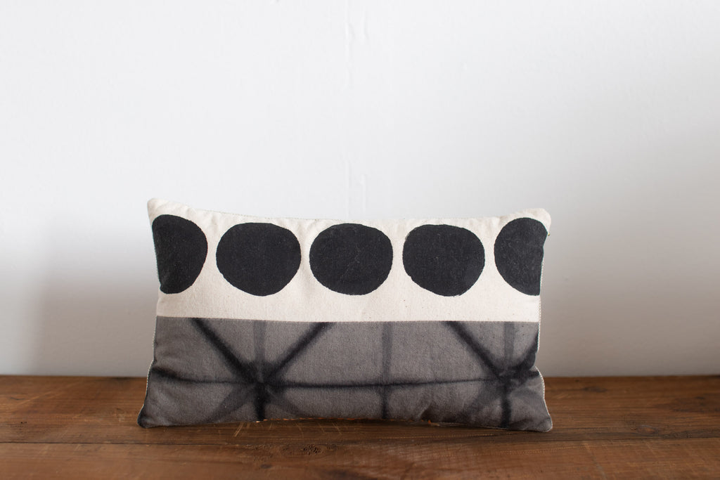 Small Gray Shibori Block Print Pillows