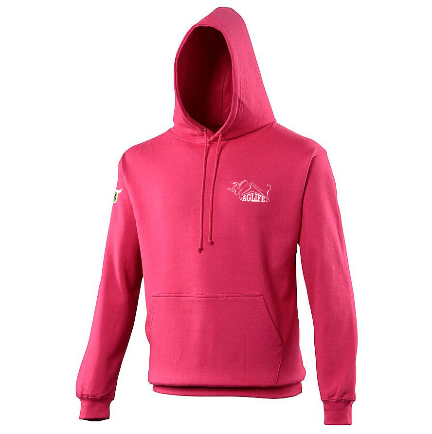 Embroidered Hot Pink AgLife Hoody (Adult)