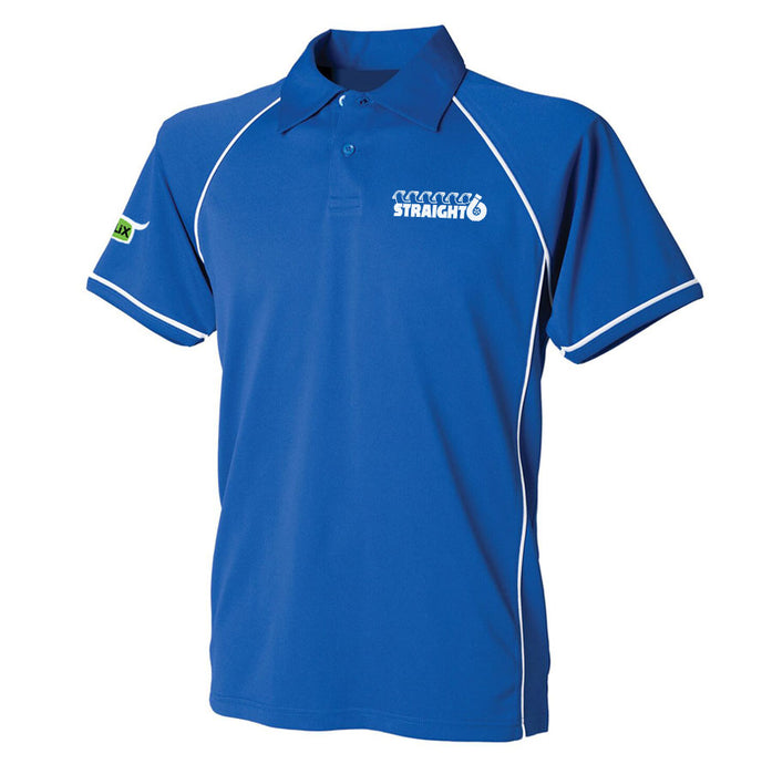 Embroidered Royal Blue Straight6 Polo Shirt (Adult)
