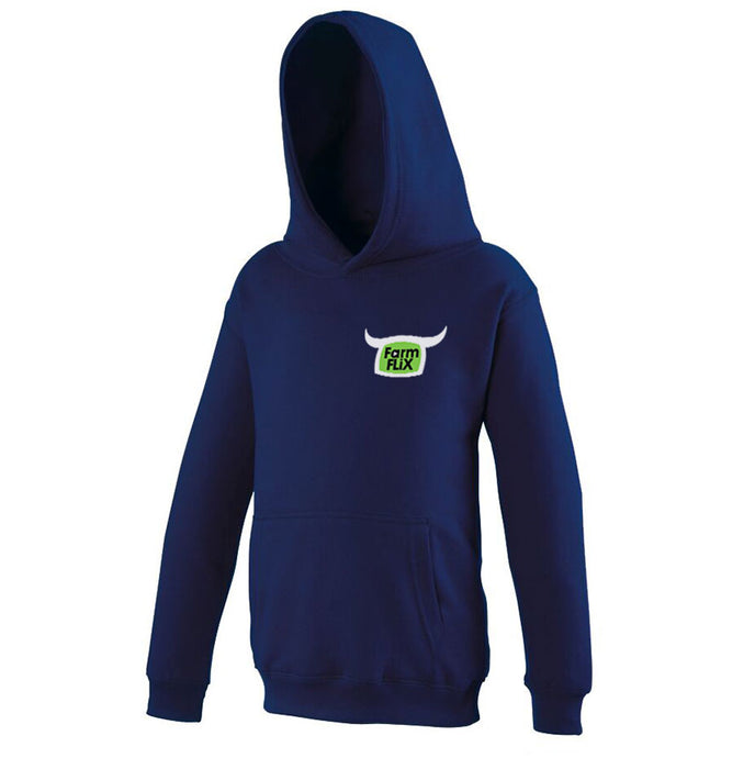 Embroidered Navy FarmFLiX Hoody (Kids)