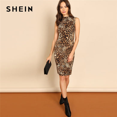 b6c328b399 SHEIN Multicolor Modern Lady Elegant Mock-Neck Leopard Print Knee Length Stand  Collar Dress Autumn