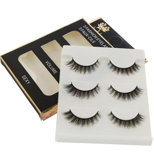 3 Pairs of Medium Length 3D Multi Layer False Eyelashes