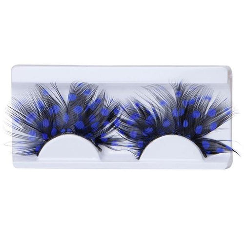 Colourful Feather Exaggeration Eyelashes - Blue and Black